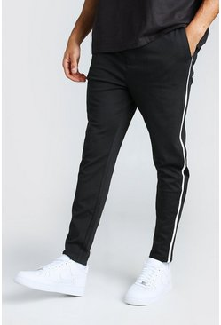 Black Straight Leg Trouser With Side Tape  Detail