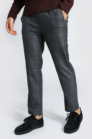 Charcoal grey Skinny Check Smart Cropped Jogger