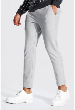 Light grey grey Nette Ingekorte Effen Super Skinny Joggingbroek