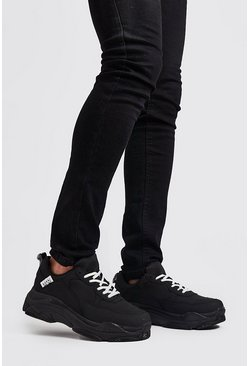 Black svart Chunky sneakers med matt finish