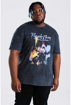Black Plus Size Acid Wash Prince License T-Shirt