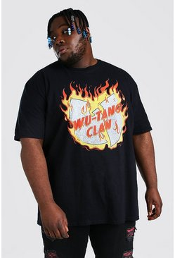 Black Plus Size Wu-Tang Flame License T-Shirt