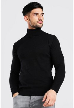 Black Regular Fit Roll Neck Sweater