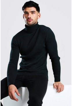Bottle green Regular Fit Ribbed Roll Neck Jumper