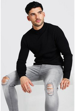 Black Regular Fit Geribbelde Trui Met Turtle Neck