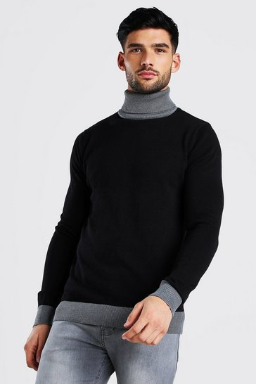 Black Contrast Chunky Roll Neck Jumper