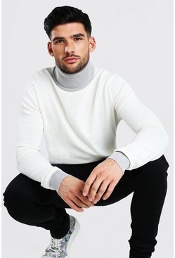 Contrast Chunky Roll Neck Jumper, White blanco