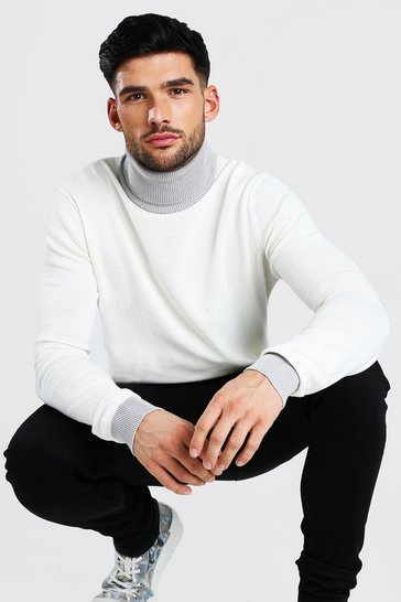 White Contrast Chunky Roll Neck Jumper
