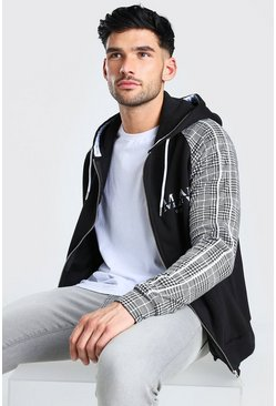MAN Roman Jacquard Sleeve Zip Through Hoodie, Black negro