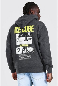 Charcoal Oversized Ice Cube Back Print License Hoodie