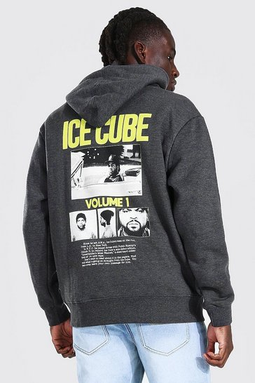 Charcoal grey Oversized Ice Cube Back Print License Hoodie