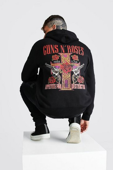 Black Oversized Guns N Roses License Hoodie