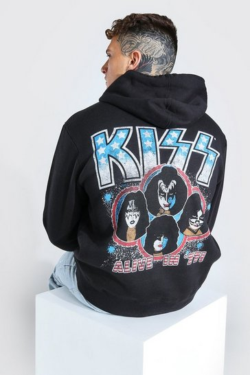 Black Oversized KISS License Hoodie