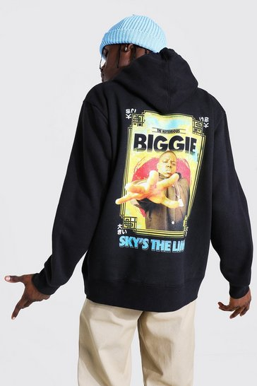 Black Oversized Biggie Back Print License Hoodie