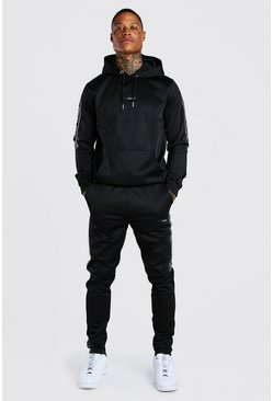 Black Official MAN Tape Poly Hooded Tracksuit