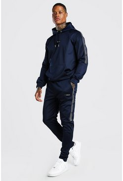 Navy Official MAN Tape Poly Hooded Tracksuit