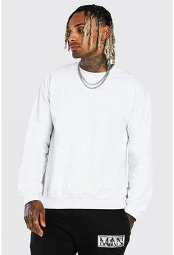 Ash Grey Marl Crew Neck Sweatshirt