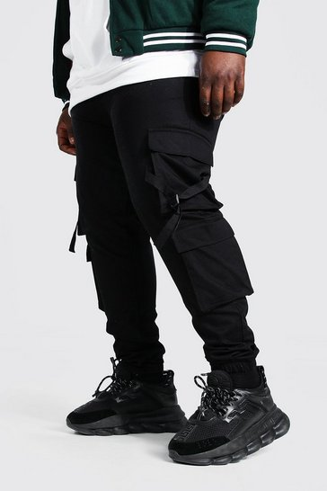 Black Plus Size Strap Detail Woven Cargo Jogger