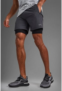 Charcoal grey Man Sportieve 2-In-1 Shorts