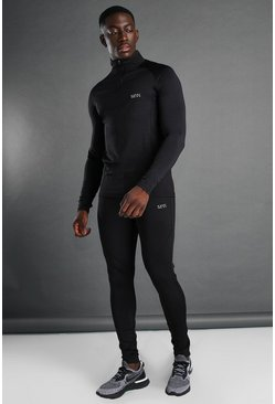 MAN Active Muscle Fit Funnel Zip Tracksuit, Black nero