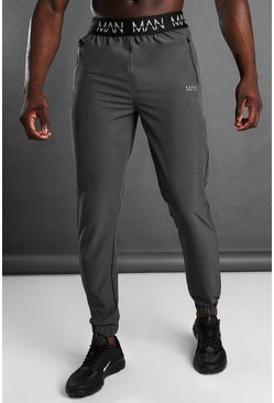 MAN Active Tapered Jogger With MAN Waistband, Charcoal grigio