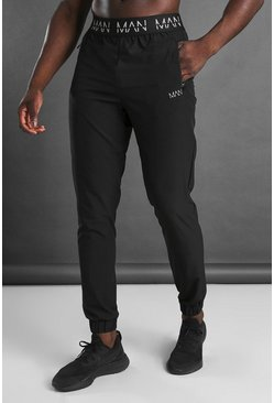 MAN Active Tapered Jogger With MAN Waistband, Black nero