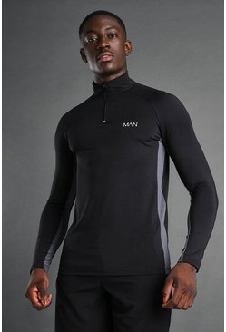 MAN Active Muscle Fit 1/4 Zip Funnel Top, Black negro