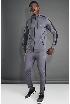 MAN Active Skinny Hooded Side Panel Tracksuit, Charcoal Серый