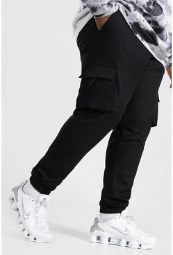 Black Plus Size Geweven Cargo Joggingbroek Met Lus