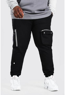 Zwart black Plus Size Geweven Cargo Joggingbroek Met Zak Detail