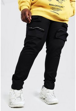 Black Plus Size Geweven Cargo Joggingbroek Met Zakken