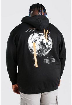 Plus Size Glitch Back Print Hoodie, Black negro