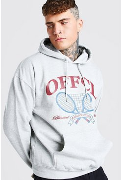 Grey marl grey Oversized MAN Official Tennis Print Hoodie