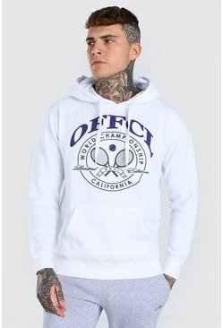 White Man Official Tennis Print Hoodie