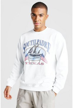 White Oversized Texas Print Varsity Sweatshirt