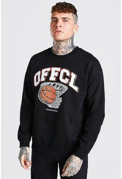 Black Oversized Basketball Print Sweatshirt