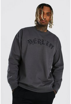 Charcoal grey Oversized Gothic Berlin Varsity Sweatshirt