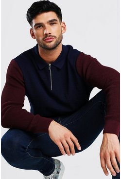 Navy Long Sleeved Colour Block Knitted Polo