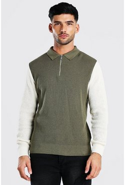 Taupe beige Long Sleeved Colour Block Knitted Polo