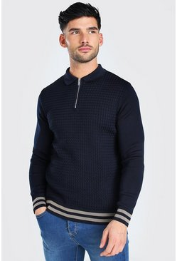Navy Long Sleeved Muscle Fit Cable Knit Polo With Stripes