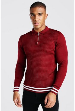 Burgundy Long Sleeved Muscle Fit Cable Knit Striped Polo