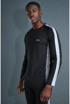 Black MAN Active Gym Reflective L/S T-Shirt