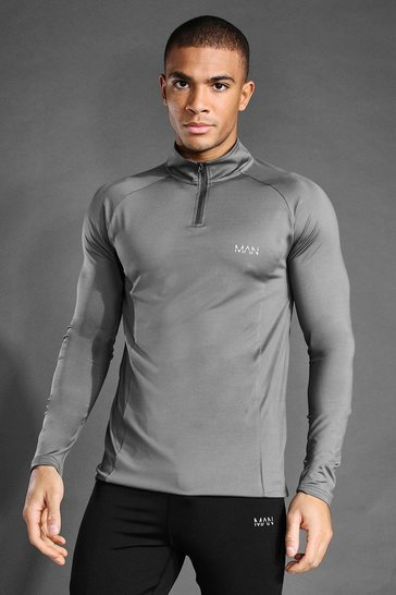 Charcoal grey MAN Active Raglan Muscle Fit 1/4 Funnel Top