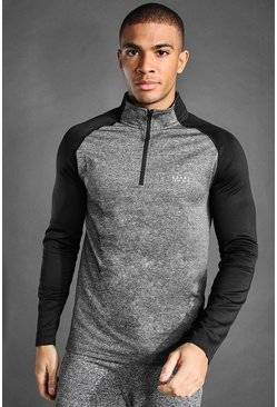 Grey marl grey MAN Active Raglan Muscle Fit 1/4 Funnel Top