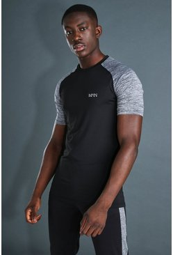 Black MAN Active Contrast Sleeve Gym T-Shirt