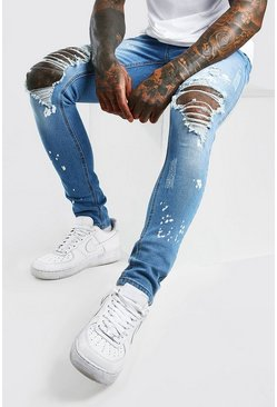 Pale blue blue Super Skinny Bleach Splitter Distressed Jeans