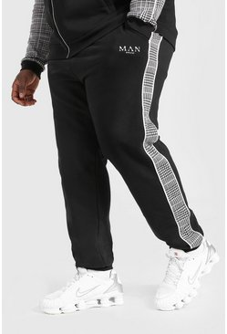 Black Plus Size Man Slim Fit Jacquard Joggingbroek Met Tekst