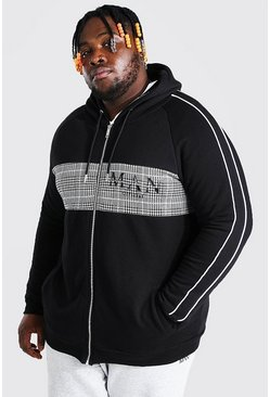 Black Plus Size MAN Roman Jacquard Panel Zip Hoodie