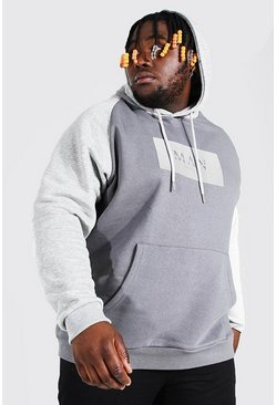 Grey Plus Size MAN Roman Colour Block Hoodie