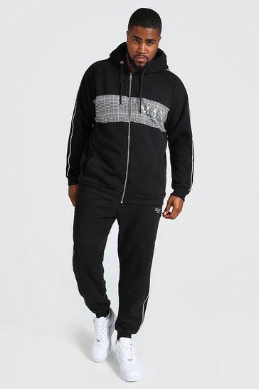 Black Plus Size MAN Roman Colour Block Zip Tracksuit